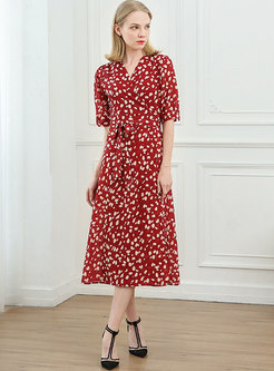 Red V-neck Floral A Line Wrap Midi Dress
