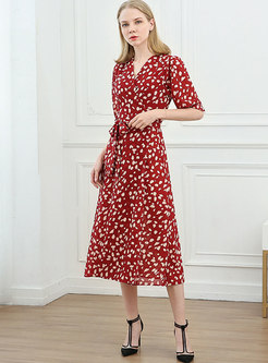 Red V-neck Floral A Line Wrap Midi Dress