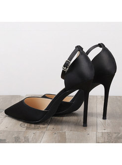 Solid Color Pointed Toe Buckle Mid-heel Shoes