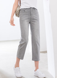 Grey High Waisted Straight Cropped Jeans