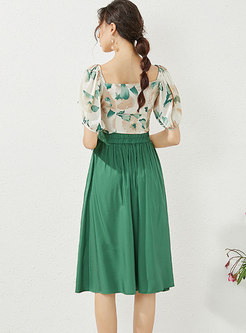 V-neck Print High Waisted A Line Skirt Suits
