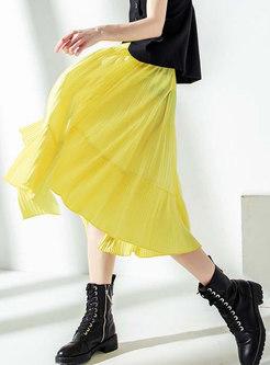 Yellow Elastic Waist Pleated High-low Midi Skirt