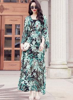 Bohemian V-neck Long Sleeve Print Beach Maxi Dress