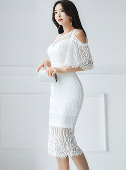 Cold Shoulder Lace Openwork Sexy Bodycon Dress