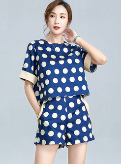 Color-blocked Pullover Polka Dot Wide Leg Pant Suits