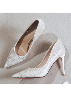 Pointed Toe Slow-cut Diamond Party Thin Heels
