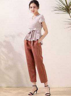 V-neck Striped Bowknot Ruffle Blouse & Harem Pants