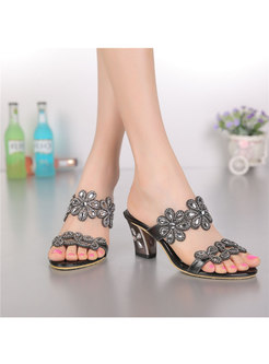 Summer Pointed Toe Diamond Chunky Heel Slippers