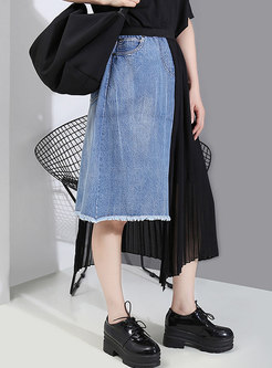 High Waisted Denim Patchwork Pleated Skirt