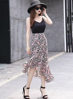 High Waisted Floral Asymmetric Peplum Skirt
