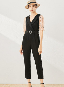 Polka Dot Short Sleeve High Waisted Slim Jumpsuits