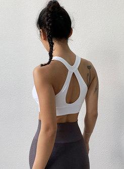 Front Zippered Sleeveless Backless Sports Bra