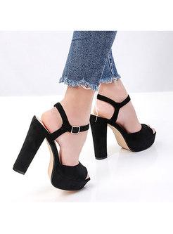 Fashion Platform Buckle Chunky Heel Sandals