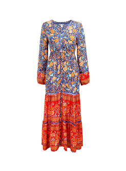 Long Sleeve Floral Patchwork Beach Maxi Dress