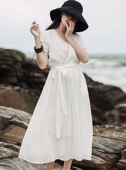 V-neck Retro Cotton & Linen Maxi Wrap Dress
