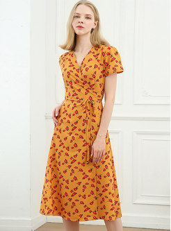Floral Short Sleeve Cross V-neck Wrap Midi Dress