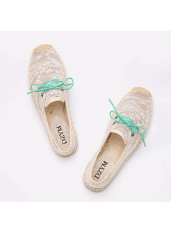Round Toe Lace Up Openwork Flats