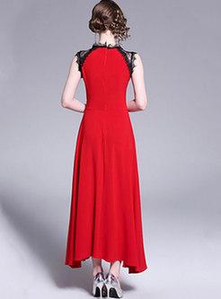Mock Neck Sleeveless Lace Patchwork Maxi Dress
