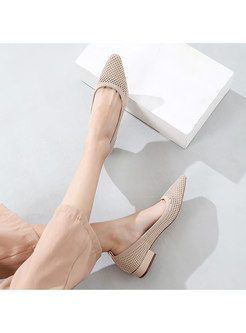 Openwork Pointed Toe Chunky Heel Shoes