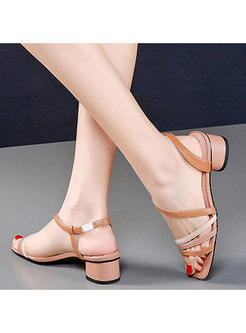 Color-blocked Square Toe Chunky Heel Sandals
