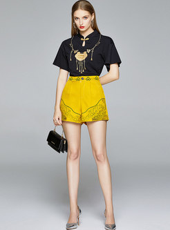Mandarin Collar Print High Waisted Pant Suits
