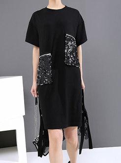 Black Print Sequined Shift T-shirt Dress
