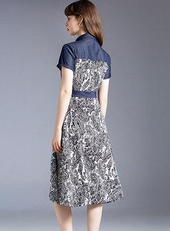Lapel Denim Patchwork Print A Line Midi Dress