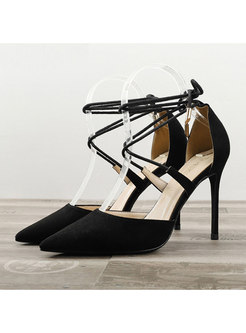 Flock Pointed Toe Cross Tied Thin Heel Shoes