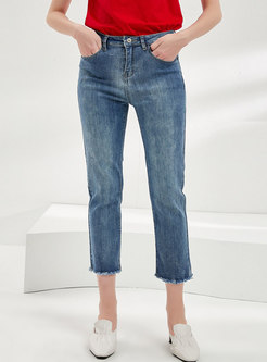 High Waisted Slim Raw Edge Cropped Jeans