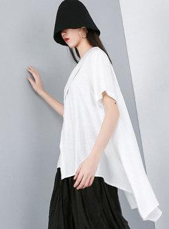 Plus Size Asymmetric V-neck Pullover Blouse