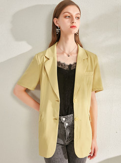 Solid Color Notched Short Sleeve Slim Blazer