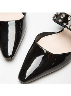 Pointed Toe Slow-cut Low Chunky Heel Shoes