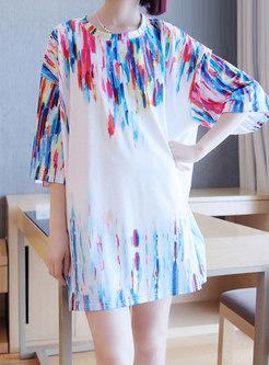 Color-blocked Crew Neck Shift T-shirt Dress