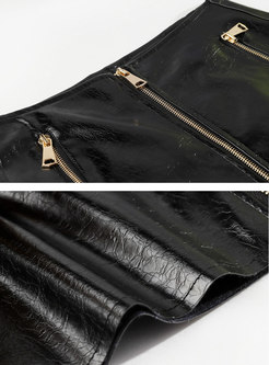 Black High Waisted PU Mini Skirt