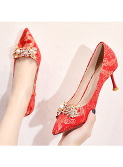 Thin Heel Pointed Toe Diamond Wedding Shoes