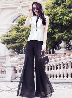 V-neck Sleeveless Slim Top & Wide Leg Pants