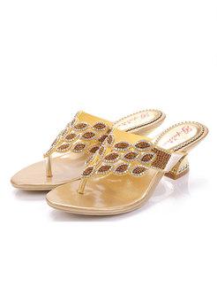 Round Toe Diamond Low Heel Slippers