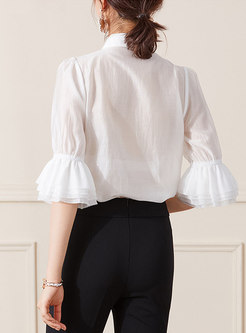 Lapel Flared Half Sleeve Transparent Blouse