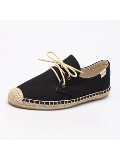 Round Toe Lace Up Canvas Flats