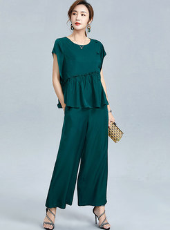 Crew Neck Ruffle Loose Wide Leg Pant Suits