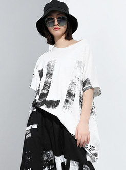 Pullover Letter Print Half Sleeve Loose T-shirt