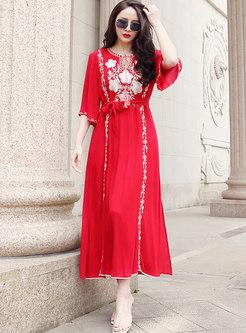 Red Bohemian Embroidered Beach Chiffon Maxi Dress