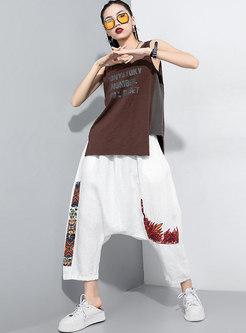 Crew Neck Sleeveless Letter Print T-shirt