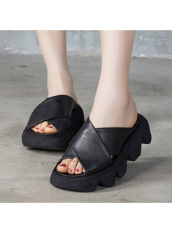 Round Toe Cross Leather Platform Slippers