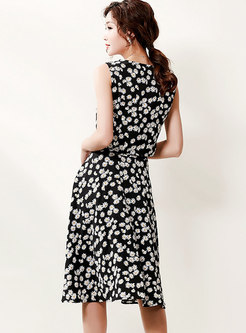 Floral Sleeveless High Waisted Knee-length Skirt Suits