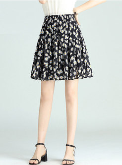 High Waisted Floral Chiffon Mini Skirt