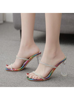 Square Neck Chunky Heel Transparent Slippers