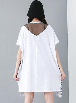 Plus Size Letter Print Patchwork T-shirt Dress