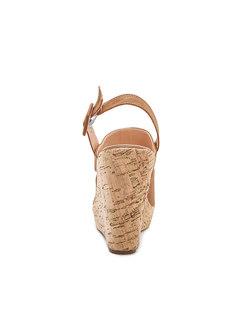 Platform Round Toe Buckle Wedge Sandals