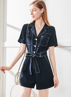 Notched Short Sleeve Bowknot Belted Rompers